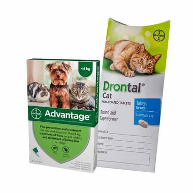 12 Month Flea & Worm Treatment For Cats – Advantage & Drontal