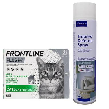 Frontline Plus For Cats And Indorex Flea Spray Bundle