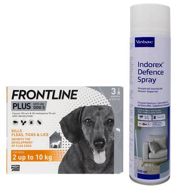 Indorex Flea Spray & Frontline Plus For Dogs Bundle