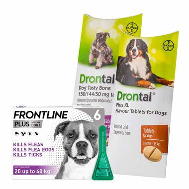 12 Month Flea & Worm Treatment For Dogs – Frontline Plus & Drontal