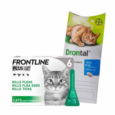 12 Month Flea & Worm Treatment For Cats – Frontline Plus & Drontal