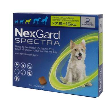NexGard Spectra Flea And Worm Treatment For Medium Dogs (7.5 - 15kg)